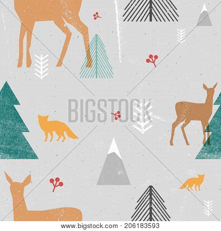 Christmas seamless pattern with woodland animals and trees in graphic style. Vector illustration with grunge texture and abstract clear forms. Gray, brown, blue colors.