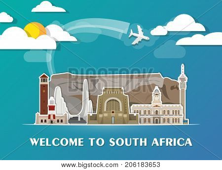 South Africa Landmark Global Travel And Journey Paper Background. Vector Design Template.used For Yo