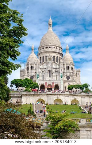 PARIS,FRANCE - AUGUST 9,2017 : The Basilica of the Sacre Coeur in the hill of Montmartre in Paris