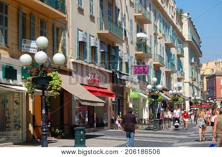 Rue Massena is a lively pedestrian street in the Old Town - Nice, France, 20 July 2007