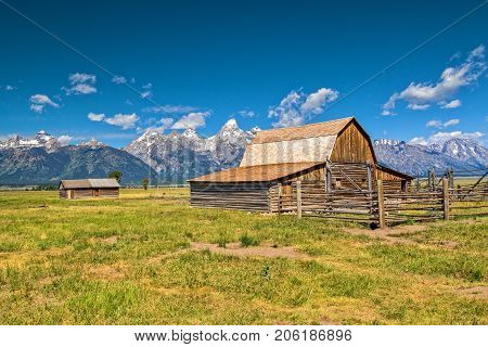 Mormon Barn and Cabin in the Grand Tetons National Park