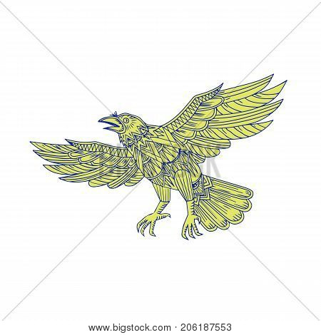 Mandala style illustration of a Common Raven of genus corvus a large all-black passerine bird Flying viewed from side