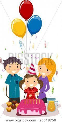 Abbildung eines Mädchens feiern ihren Geburtstag mit ihrer Familie