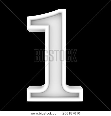3d white symbol - figure number one. Isolated on black.