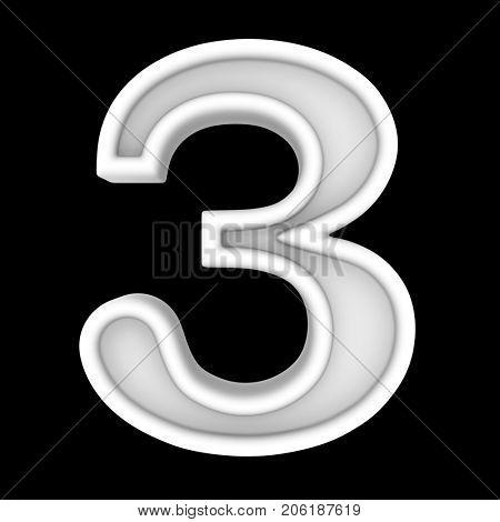 3d white symbol - figure number three. Isolated on black.