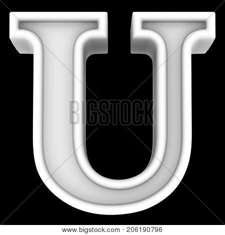 3d rendering. White letter U. Isolated on black.