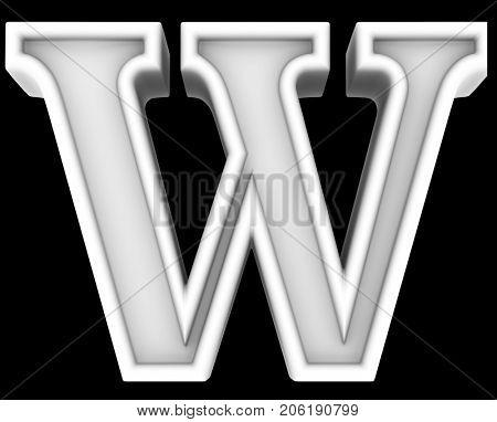 3d rendering. White letter W. Isolated on black.