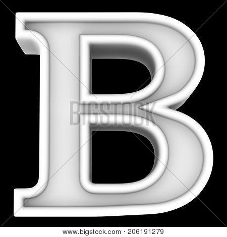 3d rendering. White letter B. Isolated on black.
