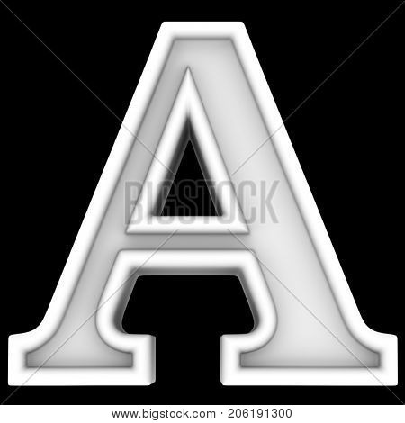 3d rendering. White letter A. Isolated on black.