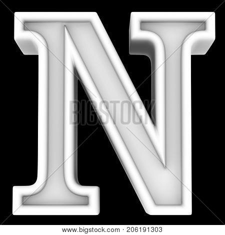 3d rendering. White letter N. Isolated on black.