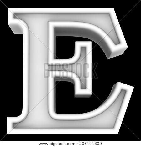3d rendering. White letter E. Isolated on black.