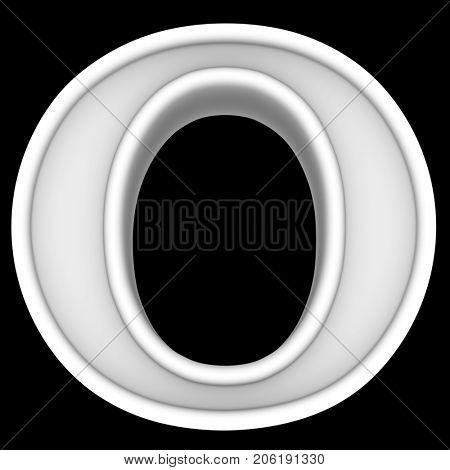 3d rendering. White letter O. Isolated on black.