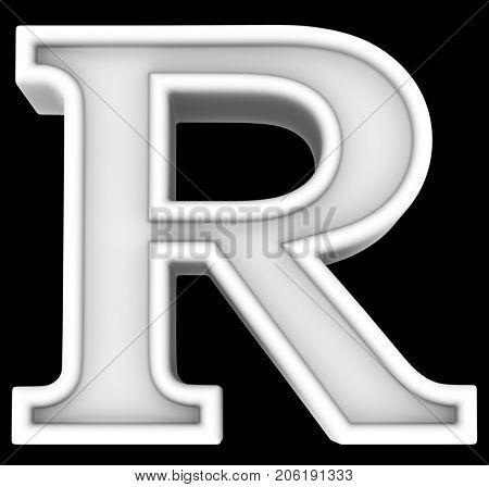 3d rendering. White letter R. Isolated on black.