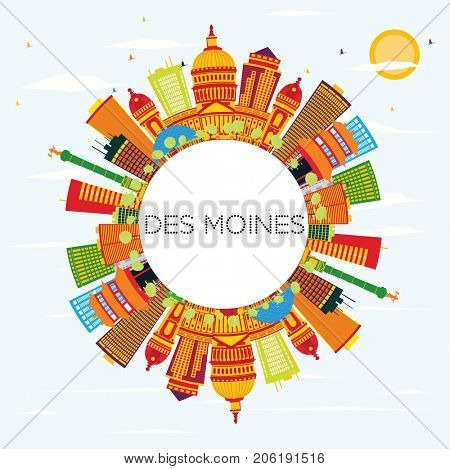 Des Moines Skyline with Color Buildings, Blue Sky and Copy Space. Business Travel and Tourism Concept. Image for Presentation Banner Placard and Web Site.
