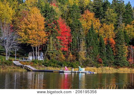 Bright autumn foliage along a river in rural Prince Edward Island.