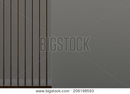 3d rendering. black meatal jail and copy space on concrete wall