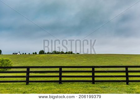 Section Of Horse Fence And Copy Space Above