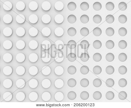 3d illustration. white concave circle buttons and convex buttons wall background