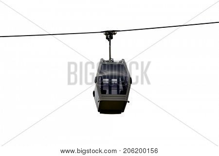 Mountain cable car isolated on white background. Transportation theme.