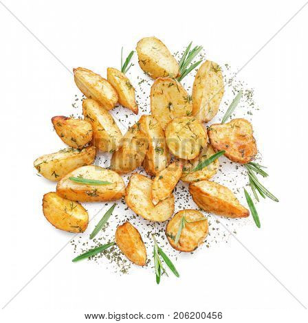 Delicious baked potatoes with rosemary, isolated on white