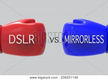 3d rendering. DSLR on Red boxing glove VS MIRRORLESS on Blue boxing glove. as Comparison concept