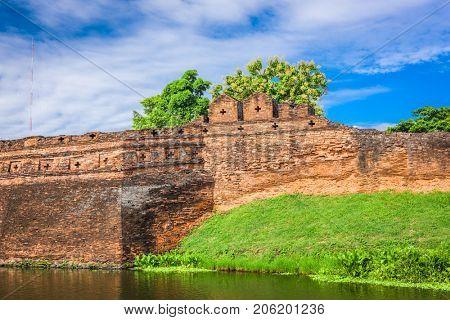 Chiang Mai, Thailand old city ancient wall and moat.