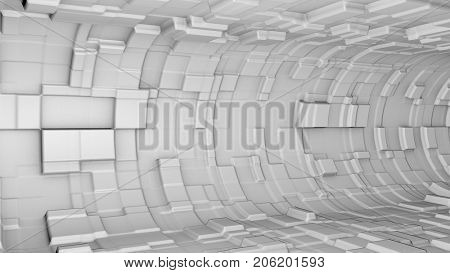 Abstract metallic 3D tunnel. Advanced science fiction structure. Science, technology and engineering background. 3D rendering.
