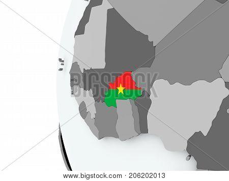 Burkina Faso On Globe With Flag