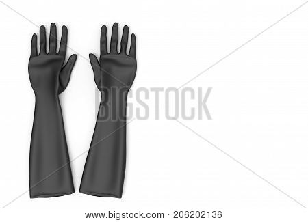 3d rendering. Black rubber gloves isolated on white background