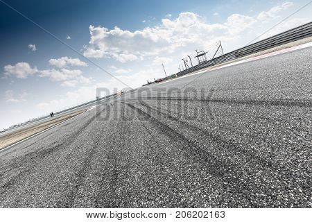 empty car racing track in shaoxing in blue sky