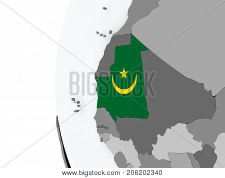 Mauritania On Globe With Flag