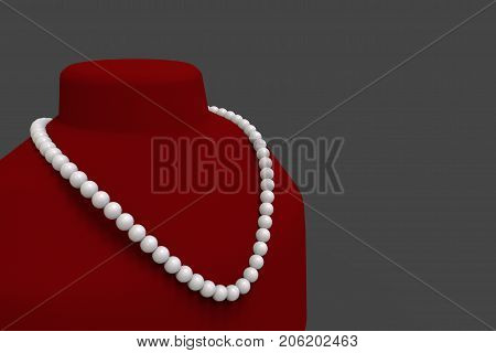 3d rendering. white peal necklace on red neck mannequin and gray background with clipping path