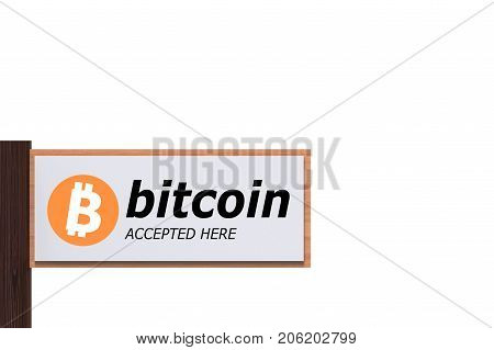 3d rendering. Bitcoin Accepted Here words on wood panel which isolated on white background with clipping path