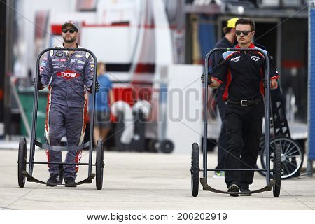 September 17, 2017 - Joliet, Illinois, USA: A crew member for Kasey Kahne (5) hangs out on pit road during the Tales of the Turtles 400 at Chicagoland Speedway in Joliet, Illinois.