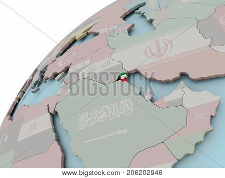 Map Of Kuwait With Flag