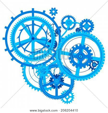 Blue gear wheels in flat style isolated on white. Techno symbol and metaphor in flat style