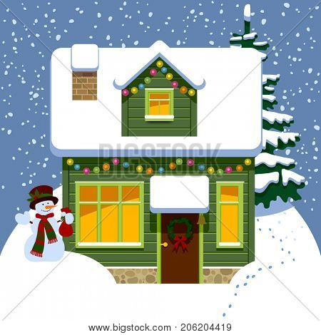 Green wooden christmas house in winter covered by snow with snowman and spruce. Drawing in flat style