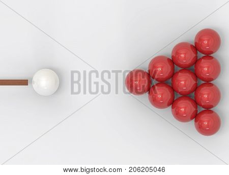 3d rendering. A pool cue ready to hit white billiard to rack of red billiards on gray background. hit the goal business concept