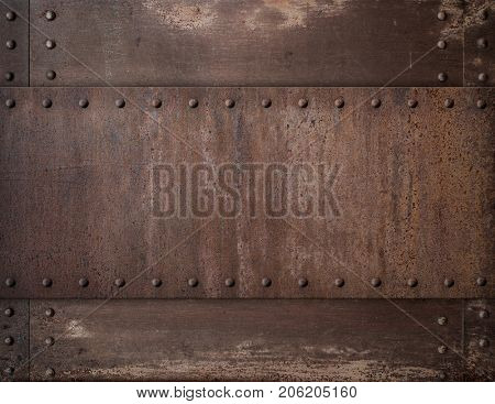 old rusty metal background with rivets 3d illustration