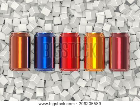 3d rendering. beverage soft drink can surrounded on white sugar cube background. Unhealthy concept