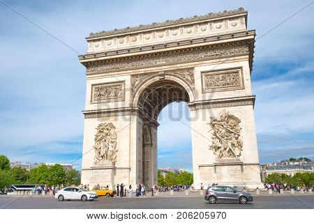 PARIS,FRANCE - JULY 29,2017 : The Arc de Triomphe at Place Charled de Gaulle, one of the symbols of the city of Paris