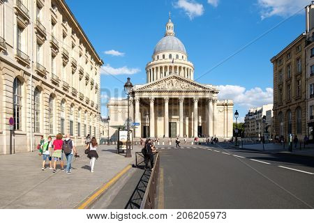 PARIS,FRANCE - AUGUST 1,2017 : The Pantheon in Paris, the burial place of many great french men