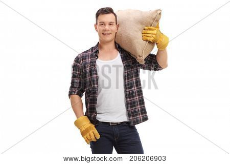 Agricultural worker holding a burlap sack isolated on white background