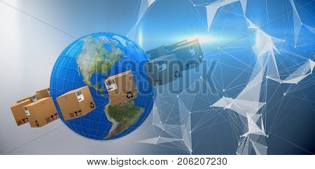 Cardboard boxes surrounding planet earth against digitally generated image of abstract pattern on screen
