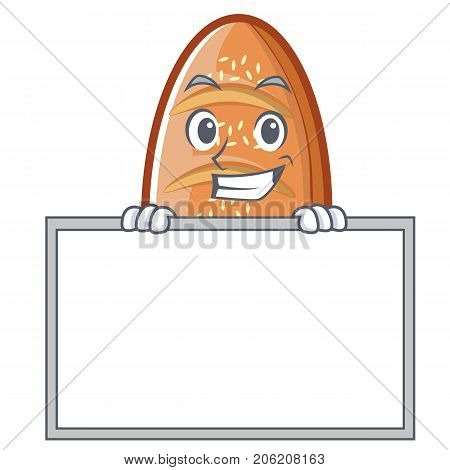 Grinning with board baked bread character cartoon vector illustration