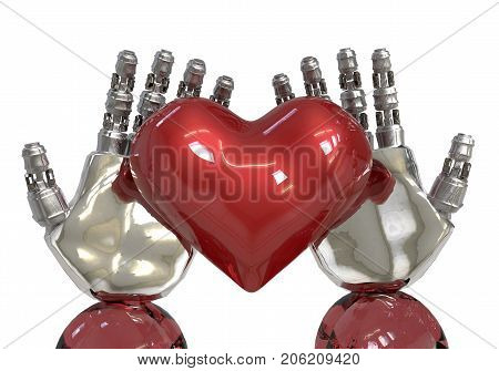 3d rendering. artificial intelligence or AI hands holding a red heart. robot can feeling in love like human.