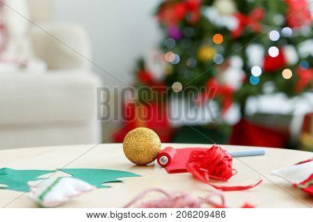 Decor for Christmas handicrafts on table