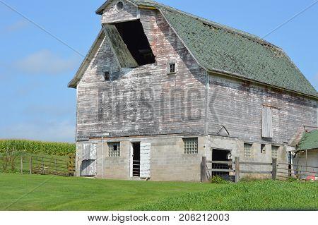 White old barn near Strum Wisconsin USA