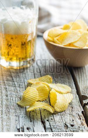 Crispy potato chips. Salted potato chips.