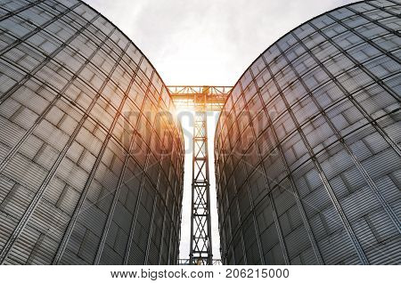 Agricultural Silos. Metal grain facility with silos. Storage and drying of grains wheat corn soy sunflower against the blue sky with white clouds poster